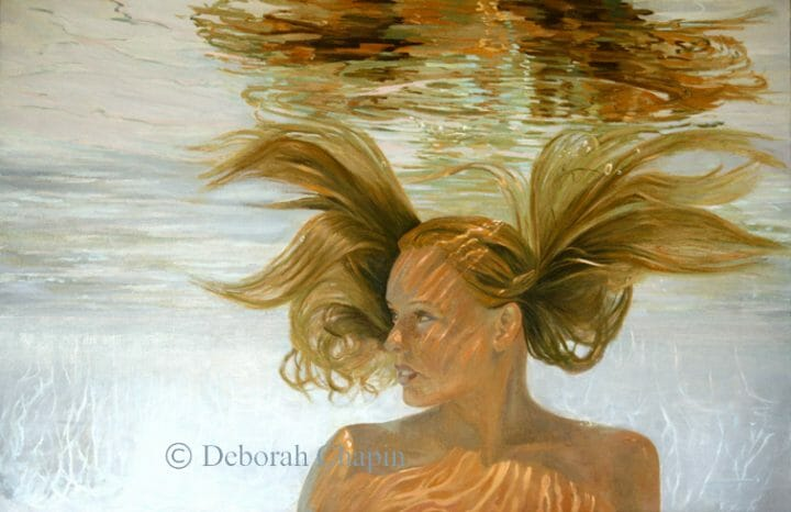 Contemporary Realism Art Print, Invincible, Water Portrait Painting, Female Portrait