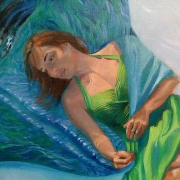 "See the latest video demonstration of ""The Thing With Feathers - Hope"" by Deborah Chapin #figurativeart #figurativepainting #fineart #underwaterportrait #figurativeunderpainting ""The Thing With Feathers - Hope"" by Deborah Chapin"