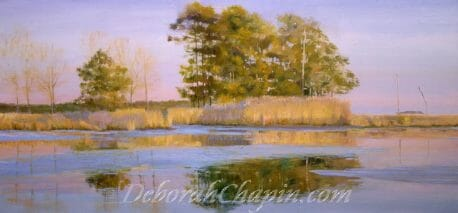 Landscape Painting, Indian Summer, Winner of the Paint America Compeition, 16x34 original oil painted en plein air