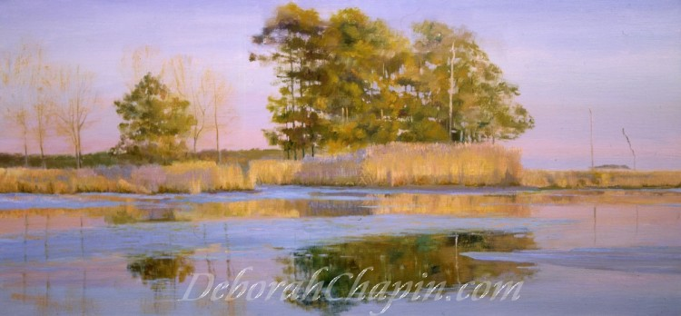 Landscape Painting, Indian Summer, Winner of the Paint America Compeition, 16×34 original oil painted en plein air