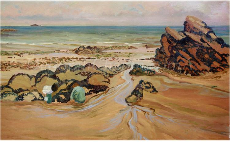 Discoveries on the Beach Paintings on Canvas, 21×34 plein air oil Deborah Chapin