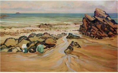 Discoveries on the Beach Paintings on Canvas, 21x34 plein air oil Deborah Chapin