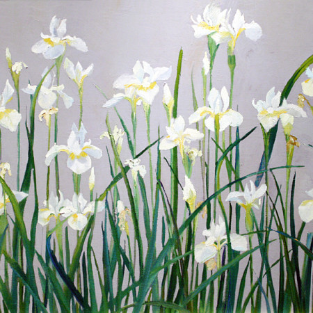 Japanese Flower Paintings , Japanese White Irises, Original is 21x34 plein air oil, Deborah Chapin