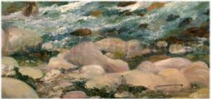 Plage des Blanche Roches, 21x34 plein air oil closeup, artist Deborah chapin