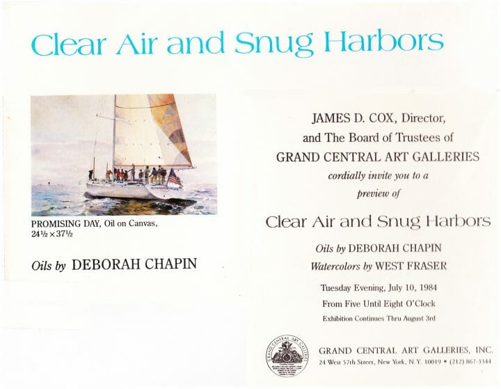 Grand Central Gallery Exhibition Invitation, Clear Air Snug Harbors, Deborah Chapin