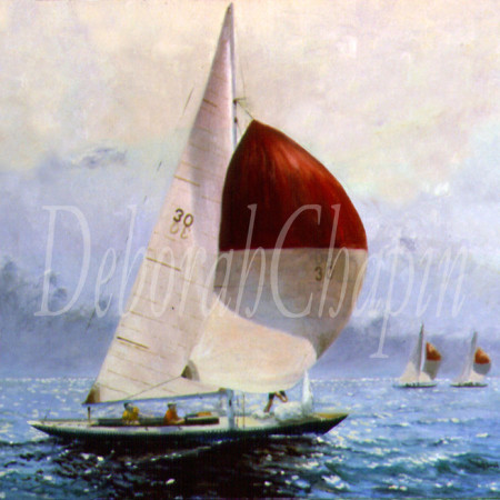 """Part of the One-Design Racing Series. Exhibited at Grand Central Gallery in New York in individual exhibition Clear Air and Snug Harbors. This yacht was an international One Design. During the war the construction jigs were buried to protect them during the Nazi occupation."""