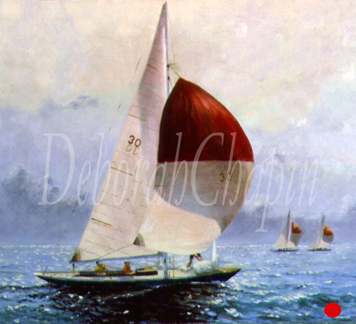 """""""Part of the One-Design Racing Series. Exhibited at Grand Central Gallery in New York in individual exhibition Clear Air and Snug Harbors. This yacht was an international One Design. During the war the construction jigs were buried to protect them during the Nazi occupation."""""""