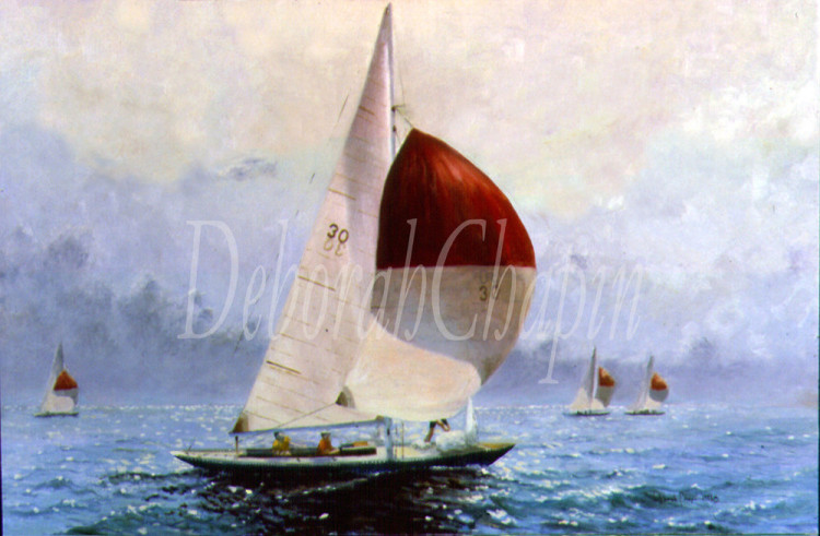 'A State of Independence, Yacht Painting, Canvas Print, International One-Design_Deborah Chapin Gallery Store'