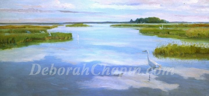 "Painted on the Eastern Shore of Maryland as part of a Wetland Series of pieces involving 500 pieces of art during a 7 year period, most of which have been sold. "" In all the years that I've been painting the Wetlands and environs the characteristic I enjoy most is the reflecting sky. Somehow with calm winds a peace settles and the wildlife revel in the environment."