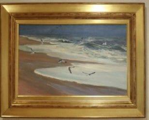 Carolina Coast, 21x34 plein air oil by Deborah Chapin, Exhibited at the Mystic International at Mystic Seaport Museum Gallery.