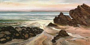 Venusula Beach, painted at dawn, 24x42 plein air oil