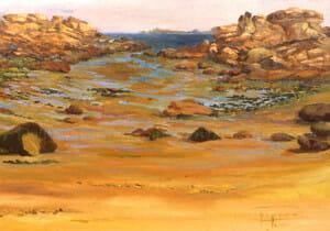 Roches Rose, 21x34 plein air oil, Brittany Series, Deborah Chapin