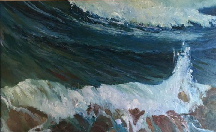 Abstract Marine Original Paintings: Les Vagues, 21x34, plein air oil by Deborah Chapin