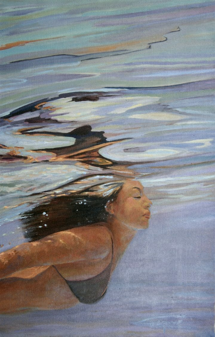 Water Portrait, Underwater Figure painting, Bri-Caribbean Blue by Deborah Chapin.
