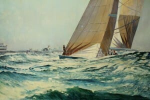 Gunsmoke Blue, 22x35 oil on linen canvas by Deborah Chapin. Part of the America's Cup Series in the first Cup race in Australia.