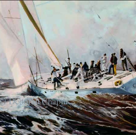 Marine Art Painting and introducing Canvas Prints, February Blast, 24x42 oil on linen canvas by Deborah Chapin