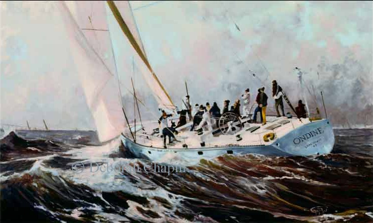 Marine Art Painting and introducing Canvas Prints, February Blast, 24×42 oil on linen canvas by Deborah Chapin