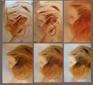 Evolution of a painting contemporary realistic portrait -Stage 5 final finishing stages of painting Ethereal - Deborah Chapin