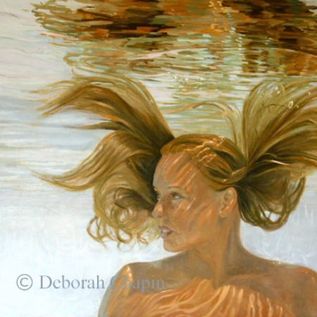 Contemporary Realism Art Print, Invincible, Water Portrait Painting, Female Portrait. Part of the Water Portrait Series by Deborah Chapin.