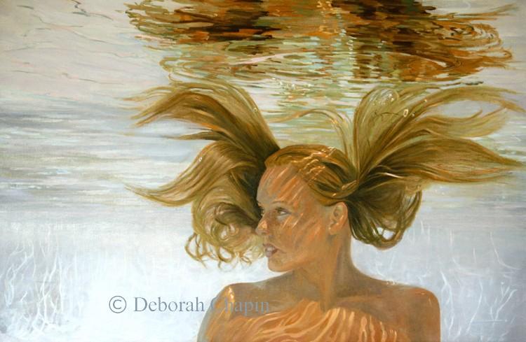 Contemporary Realism Art Print, Invincible, Water Portrait Painting, Female Portrait.  Part of the Water Portrait Series by Deborah Chapin.