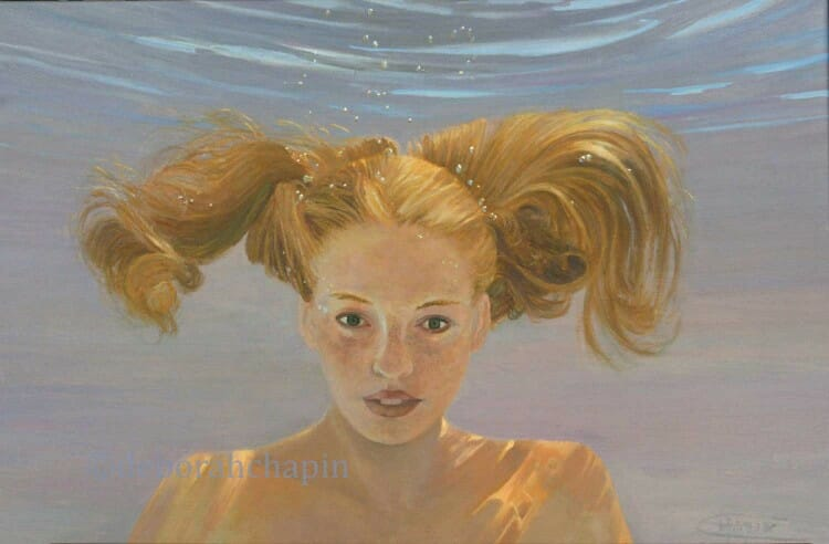 Penny for Your Thoughts 20×30 oil on linen canvas by Deborah Chapin, $4500