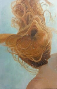 HD Women Painting Women, Underwater Painting, Ephmeral 36x24 oil linen canvas by Deborah Chapin