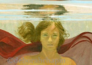 Underwater Portrait Art, It's A New Dawn, 20x30 by Deborah Chapin closeup