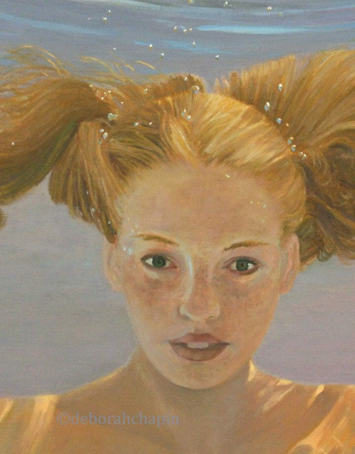 Painting Gallery closeup, Penny for Your Thoughts 20x30 oil on linen canvas by Deborah Chapin