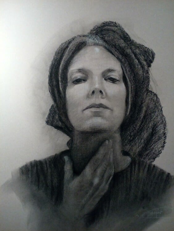 """#charcoaldrawing, self portait , """"In Search of Self"""" 19.5x25 charcoal on Canson, Self Portrait Deborah Chapin"""