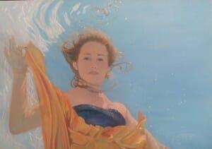 """Underwater Portrait Art, WIP """"Sky's the Limit"""" 24X36 oil on linen by Deborah Chapin"""