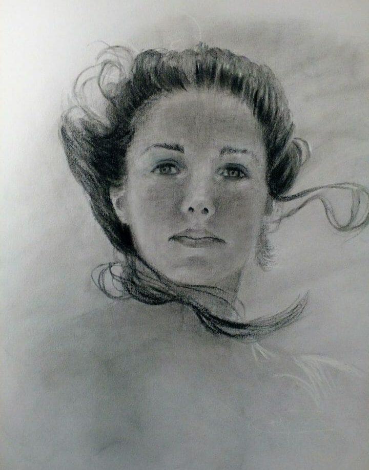 Charcoal drawing, portrait of women, charcoal, original by Deborah Chapin