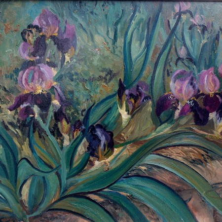 The original $5500 iris flower paintings is 22x30 plein air oil and the unframed giclée printed canvas with permanent pigment ink are made to order ready for your framer. The flower painting, is red and dark garnet color iris. //gallery.deborahchapin.com