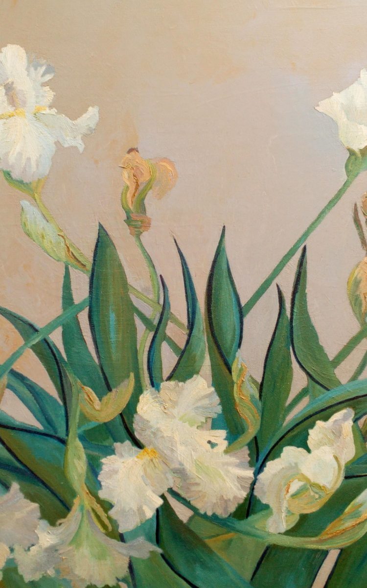 """Floral Art, The original painting is available, was painted on a prepared background after a rain. Large bearded white iris weighted down with rain.  Having been tossed about from the storm, continues to bloom and produce flowers on the weather worn stalks bent and twisted. <strong><em><a href=""""https://gallery.deborahchapin.com/contact-2""""> Contact Us About This Piece</a></em></strong> please include the title in your subject line."""