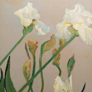 Closeup right flowers, Floral Art, The original painting is available, was painted on a prepared background after a rain. Large bearded white iris weighted down with rain.  Having been tossed about from the storm, continues to bloom and produce flowers on the weather worn stalks bent and twisted. Contact Us About This Piece please include the title in your subject line.