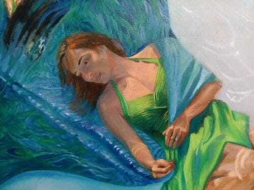 """See the latest video demonstration of """"The Thing With Feathers - Hope"""" by Deborah Chapin, #figurativeart #figurativepainting #fineart #underwaterportrait #figurativeunderpainting """"The Thing With Feathers - Hope"""" by Deborah Chapin"""