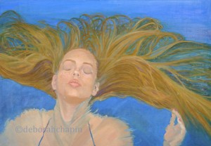 Painting Gallery of Realistic Artist, Water Portaits, Plein Air Florals Deborah Chapin ,Portraits, In A World of Her Own by Deborah Chapin
