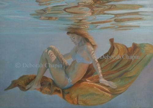 Underwater Art, Figurative, A Life in Balance, 21x34 oil painting on linen canvas by Deborah Chapin HD photo