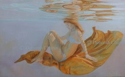 Underwater Art, Figurative, A Life in Balance, 21x34 oil painting on linen canvas by Deborah Chapin
