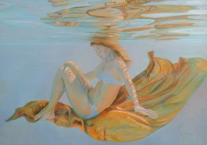Underwater Art, Figurative, A Life in Balance, 21x34 oil painting on linen canvas by Deborah Chapin desktop photo