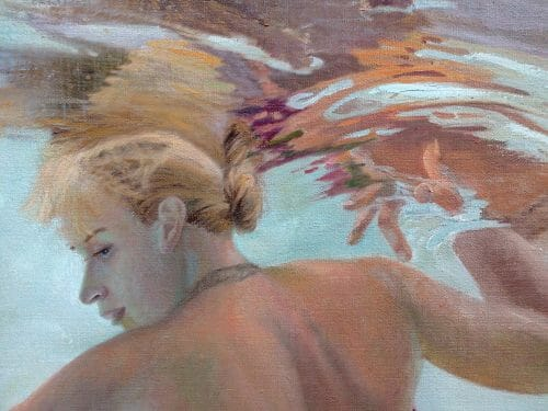 "WIP, underwater figurative painting, detail, ""Holding up the Sky"", by Deborah Chapin"
