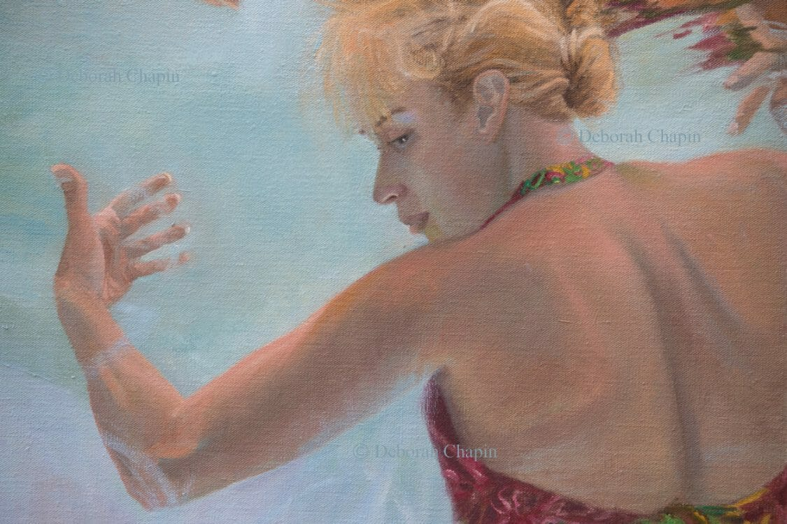 "Women In Art, Contemporary Realism, underwater figurative painting, detail, ""Holding up the Sky"", by Deborah Chapin"
