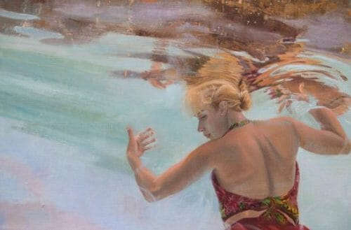 "Women In Art, Contemporary Realism, underwater figurative painting, ""Holding up the Sky"", by Deborah Chapin"