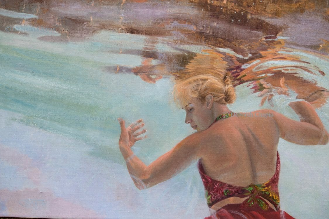 Women in art contemporary realism underwater figurative painting detail holding up