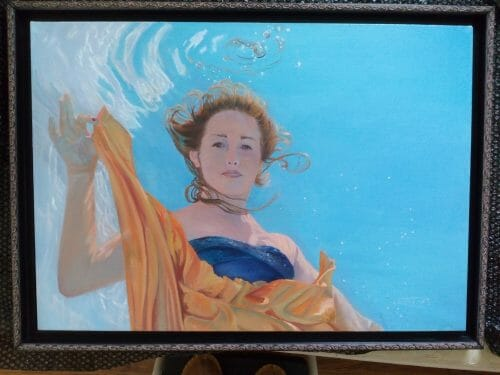 Packing up for Studio Move, Sky's the Limit, 24x36 oil on linen, underwater portraits by Deborah Chapin