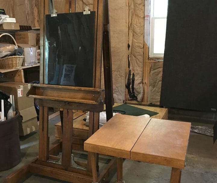 Easel and Model stand set up
