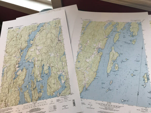 Maps of Maine prep for painting exploration 2019