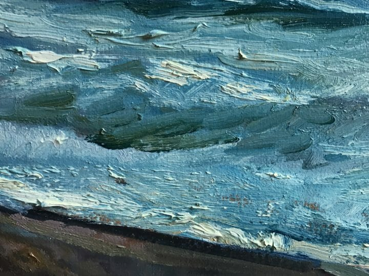 "closeup of brushwork Blue Indigo, Master Marine Surf Painting, Exhibited Ketterer Kunst Hamburg Germany, SAAM Talk by Deborah Chapin. Surf Painting, Museum Piece, Canvas Print Blue Indigo by Deborah Chapin Blue Ribbon Work ~ Private Collection Surf Painting, Fine Art, Beach Scene, Canvas Print ""Blue Indigo"" by Deborah Chapin This Surf Painting, Beach Scene is a Fine Art Canvas Print printed from an original oil painting."