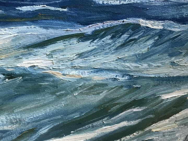 "closeup3 of brushwork Blue Indigo, Master Marine Surf Painting, Exhibited Ketterer Kunst Hamburg Germany, SAAM Talk by Deborah Chapin. Surf Painting, Museum Piece, Canvas Print Blue Indigo by Deborah Chapin Blue Ribbon Work ~ Private Collection Surf Painting, Fine Art, Beach Scene, Canvas Print ""Blue Indigo"" by Deborah Chapin This Surf Painting, Beach Scene is a Fine Art Canvas Print printed from an original oil painting."