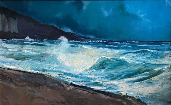 Blue Indigo, Master Marine Surf Painting, Exhibited Ketterer Kunst Hamburg Germany, SAAM Talk by Deborah Chapin.
