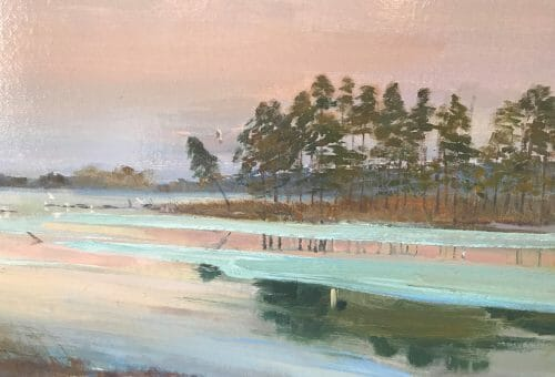 Moonrise closeup, 16x34 pleinair oil by Deborah Chapin